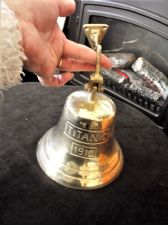 "VINTAGE HEAVY BRASS DOOR / WALL MOUNTED BELL TITANIC 1912 5.5"" HIGH 5.75"" DIA"